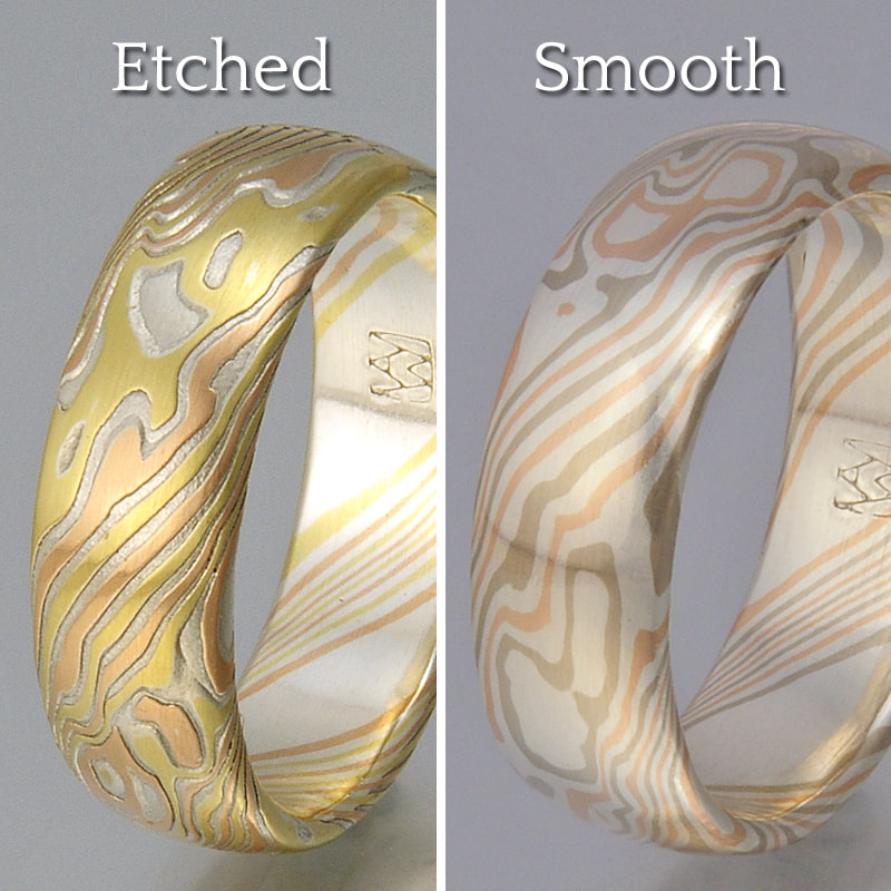 trigold metal rings mokume products ring gane sterling woodgrain band silver unique wedding and narrow